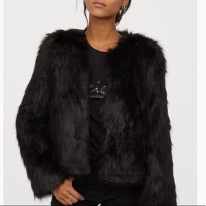 H and M divided faux fur jacket